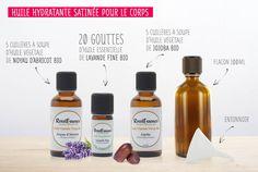 Recette DIY d'huile hydratante satinée :) Après la douche, versez quelques gouttes de ce mélange dans vos paumes et massez l'ensemble du corps --> https://revelessence.com/recette/huile-hydratante-satinee-corps/