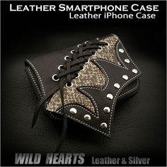 Leather iPhone Case Smartphone Case Cellphone Case WILD HEARTS Leather&Silver http://item.rakuten.co.jp/auc-wildhearts/sc1473r33/