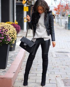 Leather on Leather | Black Over The Knee Boots Outfit - aquazzura boots - chanel jumbo bag - otk boots - leather jacket - amynicolaox