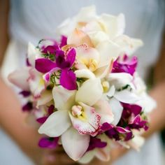 pink and white orhid bouquet