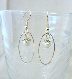 Gold Oval Hoops w/ Pearl Dangle Earrings Handmade by Pizzelwaddels