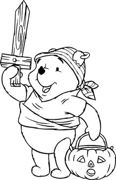 Disney Halloween coloring pictures of Winnie the Pooh for you to print and colour. This page is full of Halloween printables - click o. Disney Halloween Coloring Pages, Halloween Coloring Pictures, Disney Coloring Pages, Printable Coloring Pages, Adult Coloring Pages, Bear Coloring Pages, Coloring Pages For Kids, Coloring Sheets, Coloring Books