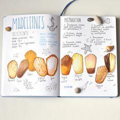 I want to make a recipe book so badly 😆😆 Homemade Recipe Books, Madeleine Recipe, Recipe Drawing, Food Sketch, Food Journal, Recipe Journal, Sketch Journal, Food Drawing, Bullet Journal Inspiration