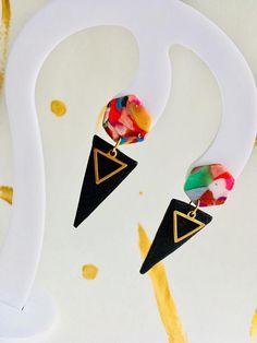 Geometric 80s Earrings. Polymer Clay earrings..Funky Colourful Earrings. Geometric Shapes earrings. Black Gold Earrings. Spikes earrings. Statement Earrings.