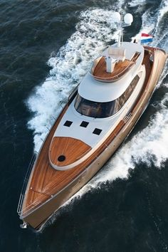 Amazing wooden yacht.