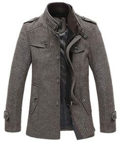 New tlb men winter fashion wool blend single breasted military coat khaki online shopping – theprettyfashion – Winter Clothes Bloğ Rugged Style, Style Casual, Style Brut, Man's Overcoat, Winter Overcoat, Mens Winter Coat, Moda Formal, Herren Winter, Tweed Coat