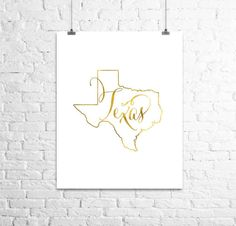 Texas Map done in a shiny gold finish. This Digital Print will enhance your home decor giving it an elegant touch. This listing is only for Texas State Map, Texas Pride, Travel Theme Nursery, Foil Art, Gold Foil Print, Typography Art, Poster On, Wall Art Prints, Print Design