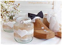 Hochzeitsdeko - Windlicht Hochzeitsdeko Vintage Hochzeit Shabby - ein Designerstück von schoengemachtes- bei DaWanda