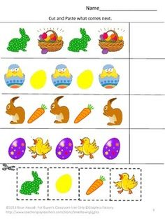 FREE: Free Celebrating Easter Cut and Paste Free Sampler. With this Sampler you will receive two worksheets from my Celebrating Easter Cut and Paste Worksheet product. The Full Version of Celebrating Easter Cut and Paste Worksheets contains 22 pages. April Preschool, Preschool Crafts, Easter Crafts, Easter Activities, Spring Activities, Preschool Activities, Kindergarten Classroom, Classroom Activities, Pattern Worksheet