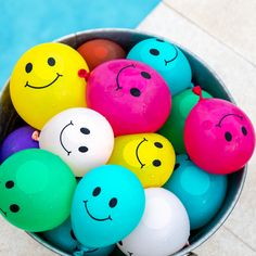 Pack of 50 smile face water balloons for summer party fun! Luau Party Games, Bbq Games, Dinner Party Games, Birthday Party Games, Pool Games, Party Fun, Games For Senior Citizens, Tween Party Games, Balloon Games