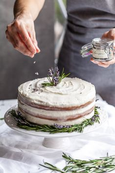 Rosemary Lavender Cake With A Lavender Buttercream - Bakery: Tartes, Pies, Cakes, Torten. Gourmet Cakes, Food Cakes, Baking Recipes, Cake Recipes, Dessert Recipes, Dinner Recipes, Buttercream Bakery, Lavender Cake, Lavender Cottage