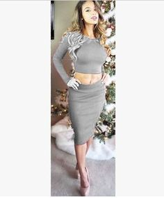 Two Piece O-neck Long Sleeve Knee-length Dress