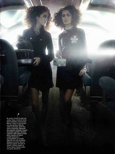 The Terrier and Lobster: Amanda Laine and Deborah Muller on the Train by Greg Lotus for Vogue Italia.