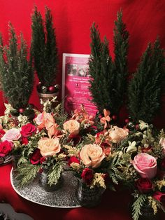 Festive miniature Cypress Lime trees + gorgeous Roses (Love) resonate with Christmas + the spirit of giving!