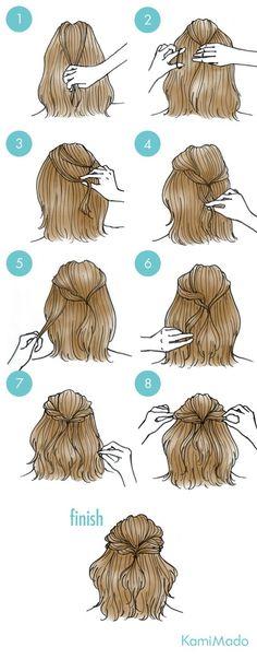Penteado super fácil para fazer sozinha no cabelo. Um pouquinho preso e pronto: o cabelo com um visual bem mais bonito.: