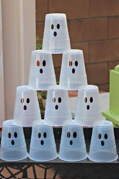 """#Halloween Ghost Busters! Shoot white """"ghost cups"""" with a Nerf gun or knock them down with a bean bag."""