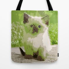 Cat Design 1 Tote Bag by Horseaholic - $22.00