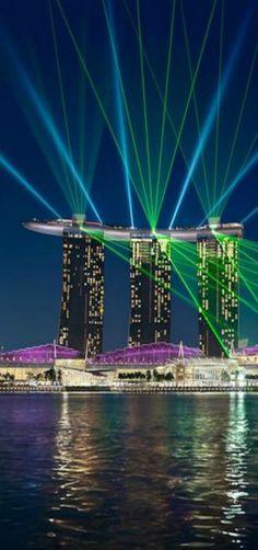 'Dance of Light' City Skyline Water Reflections, Singapore   by Elia Locardi