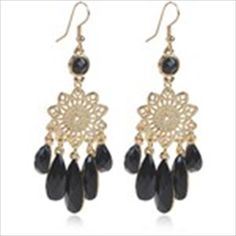 Trendy Pair of Earrings Eardrop Earbob Pendants Jewelry with Beads Decor for Girls - Golden + Black