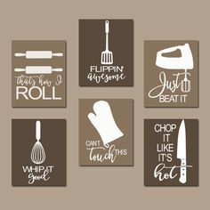 Kitchen canvas - kitchen quote wall art funny utensil wall decor canvas or prints just beat it how i roll dining room decor set of 6 choose your colors Diy Wall Art, Diy Wall Decor, Diy Home Decor, Room Decor, Wall Decorations, Funny Wall Art, Diy Art, Christmas Decorations, Kitchen Wall Art