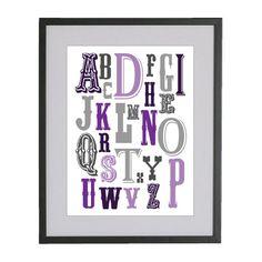 11x14 Passion Purple and Soft Grey Vintage Alphabet Nursery by Jayna Denbow. $19.99, via Etsy.