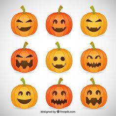 Funny halloween pumpkins Free Vector