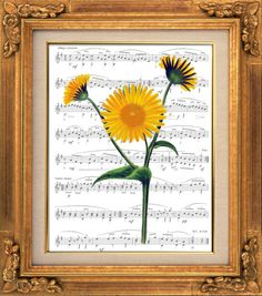 French Sunflower, Victorian Art, Sheet Music Print Poster, Wall Hanging, Unique Gift, Book Art, Dorm Room, Greeting Card, Yellow Flower