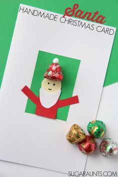 Kids will love to make and give this handmade Santa Christmas card using chocolate bell candy! #NestleHoliday #ad