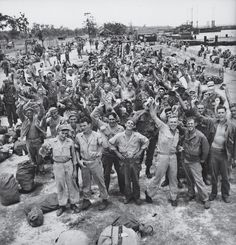 "My dad was there, after 2 years in New Guinea, and he said upon hearing this news, "" Boy we were relieved! "" American troops stationed in the Philippines celebrate the Japanese surrender, 1945"