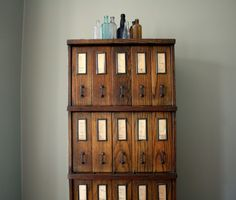 20th century oak apothecary cabinet made by Schwartz Sectional System http://manlyvintage.com
