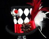 Queen of Hearts – noir, blanc et rouge impératrice Harlequin Collection Mini chapeau haut de forme, Alice au pays des merveilles, Mad Hatter Tea Party
