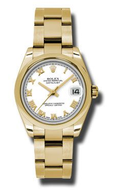 Rolex Watches - Datejust 31mm - Gold President Yellow Gold - Domed Bezel - Oyster Bracelet - Style No: 178248 wro