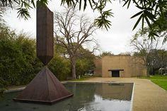 """Barnett Newman's """"Broken Obelisk"""" outside the Rothko Chapel - Houston, Texas"""
