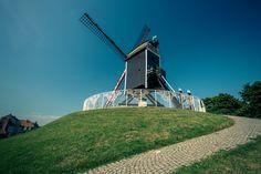 Black windmill in Bruges, Belgium