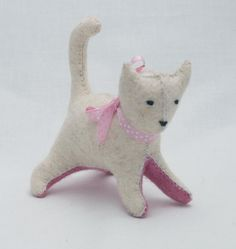 Felt cat Waldorf kitten  This wonderful white kitten is made of 100% eco felt and stuffed with high quality wool. Her body is natural white, while her