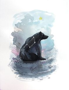 Ursa Major - bear big dipper print of original watercolor illustration 9x12…