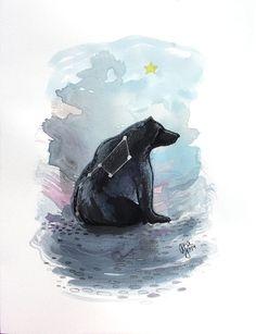 Watercolor Bear Big Dipper constellation illustration by Aja Ursa Major 9x12 inches