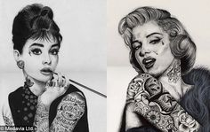 Audrey Hepburn and Marilyn Monroe with tattoos