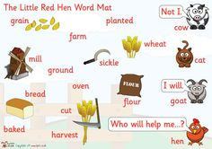 The Little Red Hen Word Wall - baking, bread, wheat, hen, traditional, tale, story, stories
