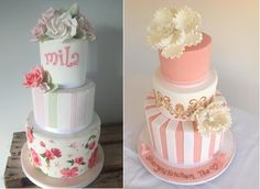 cakes with stripes by Sweet as Sugar Cakes UK left and via Pinterest right