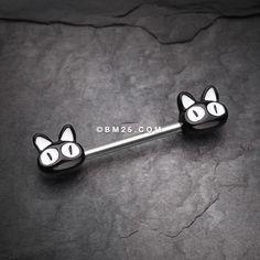 Black Kitty Cat Nipple Barbell