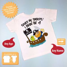 Four Year Old Pirate Birthday Shirt Shiver Me By ThingsVerySpecial 4 Boy