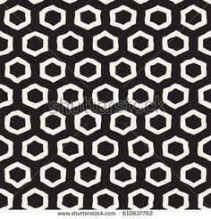 Seamless black and white pattern with hexagon lattice. Creative monochrome hand drawn honeycomb background.