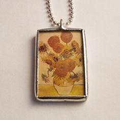 Soldered Glass Vintage Art Necklace  by mysweetseptember on Etsy