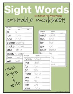 Preschool Practice: Printable Dolch Site Word Worksheets