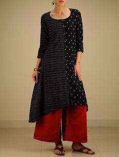 Buy Black Grey Hand woven Ikat Asymmetrical Cotton Kurta Online at Jaypore.com