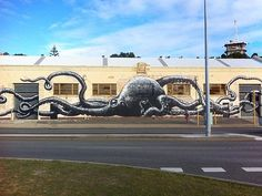 Mural by Phlegm at the Naval Stores in Fremantle as part of PUBLIC 2015.
