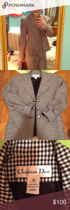 Vintage Christian Dior blazer I'm really good condition! It looks nice but there are a few tiny flaws, e.g., it feels like it's pilling but doesn't look it, has a couple of tiny stains that I haven't tried to get out. Ask for additional pics of u like. Vintage from 80s / 90s, has shoulder page in tact to keep value but they can be taken out. Beautiful blazer / sport jacket / suit / business causal. Classic and timeless piece! Christian Dior Jackets & Coats Blazers