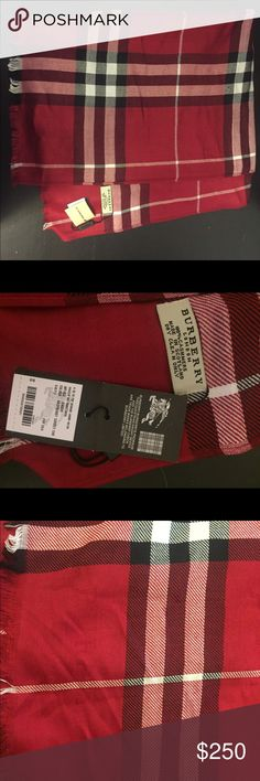 Lightweight Burberry Cashmere Scarf 100% cashmere scarf in a raspberry sorbet color. Never been worn! Brand new! Burberry Accessories Scarves & Wraps