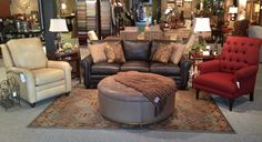 "Bradington-Young Leather Sofa and power recline chair.  Along w/a Bassett ""Amherst"" accent chair. Wesley Hall Ottoman."